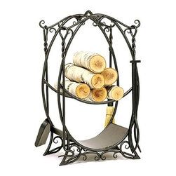 Achla - English Garden Wood Holder - Bring beautiful styling to the hearth in the form of a wrought iron English garden.  Set includes all the necessary tools, plus a central log holder.  Unique upright oval design features artful sculpturing that will add interest to any fireplace setting. * Wrought iron constructionGraphite Powdercoat. Lower shelf for kindling storageIncludes four fireplace tools17 in. W x 12 in. D x 31 in. H