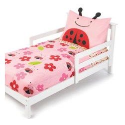 Skip Hop - SKIP*HOP Zoo 4-Piece Ladybug Toddler Bedding Set - So cozy and adorable, this SKIP*HOP Zoo Ladybug bedding is perfect your little girl's room. The stylish set includes a quilted comforter, flat and fitted sheets, and a pillow sham. The matching pieces create a fun, coordinated look she'll love.