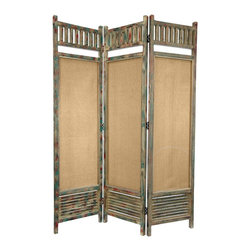 Oriental Furniture - 6 ft. Tall Distressed Wooden Railings Room Divider - Rustic three panel folding screen featuring wood and fabric sections. Open top railing and wide lower slatted section surround long semi-transparent cotton fabric panels. All wood frame is finished in an antiqued beige with accentuated blue and red distress marks. Panels connected by black two-way hinges for independent standing and easy adjustment. Artistic design and muted colors suit eclectic, rustic, or shabby-chic interiors.