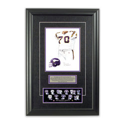 """Heritage Sports Art - Original art of the NFL 2004 Minnesota Vikings uniform - This beautifully framed piece features an original piece of watercolor artwork glass-framed in an attractive two inch wide black resin frame with a double mat. The outer dimensions of the framed piece are approximately 17"""" wide x 24.5"""" high, although the exact size will vary according to the size of the original piece of art. At the core of the framed piece is the actual piece of original artwork as painted by the artist on textured 100% rag, water-marked watercolor paper. In many cases the original artwork has handwritten notes in pencil from the artist. Simply put, this is beautiful, one-of-a-kind artwork. The outer mat is a rich textured black acid-free mat with a decorative inset white v-groove, while the inner mat is a complimentary colored acid-free mat reflecting one of the team's primary colors. The image of this framed piece shows the mat color that we use (Purple). Beneath the artwork is a silver plate with black text describing the original artwork. The text for this piece will read: This original, one-of-a-kind watercolor painting of the 2004 Minnesota Vikings uniform is the original artwork that was used in the creation of this Minnesota Vikings uniform evolution print and tens of thousands of other Minnesota Vikings products that have been sold across North America. This original piece of art was painted by artist Nola McConnan for Maple Leaf Productions Ltd. Beneath the silver plate is a 3"""" x 9"""" reproduction of a well known, best-selling print that celebrates the history of the team. The print beautifully illustrates the chronological evolution of the team's uniform and shows you how the original art was used in the creation of this print. If you look closely, you will see that the print features the actual artwork being offered for sale. The piece is framed with an extremely high quality framing glass. We have used this glass style for many years with excellent results. We"""