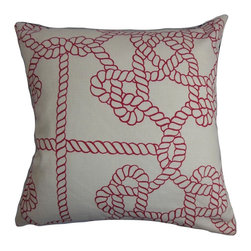 "The Pillow Collection - Accalia Nautical Pillow Natural Red - Fun and sleek, this nautical-inspired throw pillow is perfect for this summer. Transform your home with a simple home accessory like this accent pillow. Decorated with a rope pattern in red and set against a white background, this 18"" pillow mixes well with other colors and patterns. Made with a blend of 95% cotton and 5% linen fabric. Hidden zipper closure for easy cover removal.  Knife edge finish on all four sides.  Reversible pillow with the same fabric on the back side.  Spot cleaning suggested."