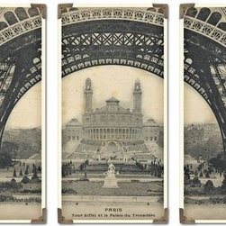 Uttermost Eiffel Tower Iron Works S/3 - The prints are laminated to wood boards. Each board has antique brass corner accents and decorative screws. Each panel is 12x23