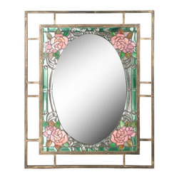 "Dale Tiffany - Arts and Crafts - Mission Dale Tiffany Jules 36"" High Art Glass Wall Mirror - Bring an antique sensibility into your home with this hand-rolled art glass frame wall mirror. A gold finish openwork border surrounds the pink and green flower art glass which surrounds a lovely smooth oval mirror. A decorative accent mirror from Dale Tiffany. Hand-rolled floral art glass. Oval mirror glass. 36"" high. 28"" wide. 1/2"" deep.  Design by Dale Tiffany lighting.  Hand-rolled floral art glass.   Oval mirror glass.   36"" high.   28"" wide.   1/2"" deep."