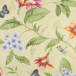 Green Orange And Red Floral Indoor Outdoor Marine Upholstery Fabric By The Yard - This upholstery grade fabric can be used for all indoor and outdoor applications. It is Scotchgarded, and is mildew, fade, water, and bacteria resistant. This fabric is made in America!
