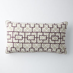 """John Robshaw - John Robshaw Jamuni Pillow with Eggplant Grid, 17"""" x 32"""" - Lavender, eggplant, and tangerine medallions float on hand-quilted cotton voile bed linens with striped reverse and cotton batting. Duvet covers and matching European shams of 300-thread-count cotton percale feature a soft khaki-clay block print and h..."""