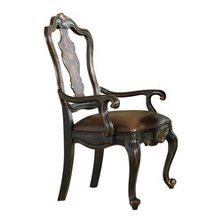 Hooker - Hooker Grandover Splatback Arm Chair (Set of 2) 5029-75400 - Accent your formal eating area with European traditional elegance by bringing home this splat back arm chair from the Grandover collection. Crafted from poplar solids, this dining side chair features a beautiful blend of cherry, walnut, and maple veneers, plus a pop of golden madrone burl for added warmth and texture. The shapely chair features a splat back design accented with molding details, enhancing its classic elegance. A robus leather-upholstered cushion seat sits atop a shapely rail and two front cabriole feet, infusing the piece with luxurious comfort. A hand-painted black border is enhanced with subtle, hand-rubbed golden accenting, offering a striking two-tone finish that will fill any eating area with visual appeal. Fill your eating area with a harmonious blend of elegance and comfort by welcoming this splat back arm chair from the Grandover collection into your home.