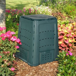 "Exaco Thermoquick 160 Gallon Wibo Recycled Plastic Compost Bin - The benefits of compost to the health of your garden are well known. When you use the Exaco Thermoquick 160 Gallon Wibo Recycled Plastic Compost Bin you'll be able to reduce your trash and make your garden healthier without any hassle. The bin's simple attractive design consists of five panels only which makes it very easy to assemble or collapse for storing. Corner clips lock the side panels together securely and two sets of lid """"grabbers"""" on each panel prevent the lid from blowing open. All parts of the Wibo are made of durable 100% recycled plastic resin which means you won't have to worry about rusting hardware or rotting wood. The dark color of the plastic absorbs the sun's heat creating a warm environment inside that's essential to successful composting. Multiple well-placed air slots provide proper ventilation and guarantee optimal composting conditions. Quick access for loading and unloading is not a problem with this large compost bin. The reinforced lid opens straight up and stays in the upright position until you close it. The access doors on all four sides can be removed and placed into slots above the openings for easy access to compost materials at the base. Complete composting instructions are included to help you begin and maintain a successful composting system. With the help of the Exaco Thermoquick 160 Gallon Wibo Recycled Plastic Compost Bin you'll be making good use of vegetable scraps as you develop nutrient-rich fertilizer for your garden. With its smart design and subtle color the Wibo will look great in your garden or along the side of your house. Order yours today. Additional features Reinforced lid opens straight up and stays 5-panel design is easy to assemble and store Well-placed air slots provide proper ventilation Dark color absorbs sun's heat to hasten composting Made in Germany About Exaco USAExaco USA Ltd. is a family-owned company based in Austin Texas that introduced the Exomixer paint mixing blade to the U.S. market in the late 1980s. The company has been a vendor to major home center chains and national distributors for 17 years providing a variety of products to spruce up your yard."
