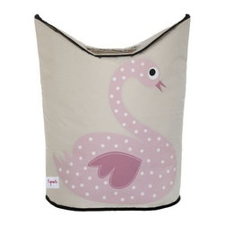 3 Sprouts - 3 Sprouts Laundry Hamper, Swan - Does laundry seem to be taking over your child's nursery or bedroom? Our 3 Sprouts pink laundry hamper in cute swan pattern is the perfect solution. Two large handles collapse, creating an easy access circular opening that stylishly keeps dirty laundry out of sight. And when you're ready to go, simply lift the handles and tote your laundry away.