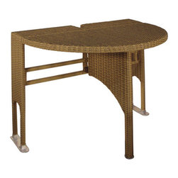 "Blue Star Group - TERRACE MATES 36 In. ADENA Half-Round Drop-Leaf Gate Leg Table Coffee Finish - The ADENA's stylish design allows you the freedom to use your space your way.  Enjoy more of your outdoor setting with this uniquely styled 36"" half-round table in Coffee colored All-Weather Wicker.  Fitting flush against the wall or vertical surface and standing 36"" W x 23.75"" D x 29.75"" H when open, it provides the perfect addition to compliment your patio, deck or balcony.  The drop leaf, gate-leg feature lets you fold the top down so the table will stand a mere 6"" away from the wall.  Crafted with an Aluminum frame wrapped with high quality All-Weather Wicker to provide years of maintainance free durability.  Designed to compliment the OFF-THE-WALL BRELLA and match our comfortable Terrace Mates stackable arm chairs, this strong, durable table can be conveniently folded and stored when not in use.  No assembly required.  Also available in Java color."