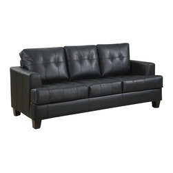 "Coaster - Coaster Samuel Bonded Leather Sleeper Sofa in Black - Coaster - Sofas - 501680 - You can have a great space saver as well as a stylish addition to any bedroom with help from this sleeper. The piece is wrapped in either a cream black or dark brown bonded leather upholstery and features plush seating as well as tufted cushions. You're bound to be pleased with this sleeper in your living room. Our Samuel sleeper is a great space saver and a stylish addition to any room. Pair this sleeper with our Samuel sofa collections to make the perfect match. Wrapped in an ultra soft bonded leather with plush seating. Have your overnight guests rest easy on this 4.5"""" thick mattress."