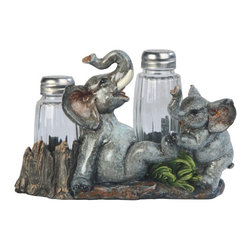 GSC - 7 Inch Elephant Playing with Child Salt and Pepper Shaker - This gorgeous 7 Inch Elephant Playing with Child Salt and Pepper Shaker has the finest details and highest quality you will find anywhere! 7 Inch Elephant Playing with Child Salt and Pepper Shaker is truly remarkable.