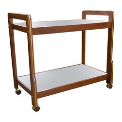 Pre-owned Mid-Century Wood & Brass Accent Bar Cart - 1960's wood bar cart with brass accents and mirrored shelves. This great cart is in wonderful, all original condition and not often seen.