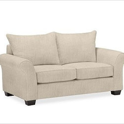 "PB Comfort Roll Upholstered Loveseat Knife-Edge, Polyester Cushions, Textured Ba - Built by our exclusive master upholsterers in the heart of North Carolina, our PB Comfort Upholstered Love Seat is designed for unparalleled comfort with deep seats and three layers of padding. 68.5"" w x 40"" d x 37"" h {{link path='pages/popups/PB-FG-Comfort-Roll-Arm-4.html' class='popup' width='720' height='800'}}View the dimension diagram for more information{{/link}}. {{link path='pages/popups/PB-FG-Comfort-Roll-Arm-6.html' class='popup' width='720' height='800'}}The fit & measuring guide should be read prior to placing your order{{/link}}. Choose polyester wrapped cushions for a tailored and neat look, or down-blend for a casual and relaxed look. Choice of knife-edged or box-style back cushions. Proudly made in America, {{link path='/stylehouse/videos/videos/pbq_v36_rel.html?cm_sp=Video_PIP-_-PBQUALITY-_-SUTTER_STREET' class='popup' width='950' height='300'}}view video{{/link}}. For shipping and return information, click on the shipping tab. When making your selection, see the Quick Ship and Special Order fabrics below. {{link path='pages/popups/PB-FG-Comfort-Roll-Arm-7.html' class='popup' width='720' height='800'}} Additional fabrics not shown below can be seen here{{/link}}. Please call 1.888.779.5176 to place your order for these additional fabrics."