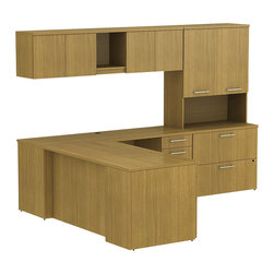"Bush - Bush 300 Series 60"" L-Shape Desk Set with Storage in Modern Cherry - Bush - office Sets - 300S013MC - Transitional classic styling fits ideally in any residential commercial or office environment with the BBF Modern Cherry 300 Series 60""W L-Station Desk with Wall Mount Overhead Tall Overhead Storage with Doors Lateral File and Pedestal. Smaller top surfaces fit in tight workspaces. Two box drawers and one file drawer in the pedestal store files or office supplies. Wall Mount Overhead has open center face flanked by two-door enclosed storage. Tall Overhead offers two-door concealed storage to keep books or documents out of sight. Lateral File features two drawers on fully extendable drawer slides for easy access to back. All file drawers accommodate letter- legal or A4-size files. Wire grommets control unsightly cords and cables keeping desk and return surfaces clutter-free. Return complements the desk and offers additional storage in pedestal. Rich Modern Cherry finish fits beautifully in executive spaces. Tough rugged work surfaces resist scratching stains dings and dents looking good for years. Includes BBF Limited Lifetime warranty."