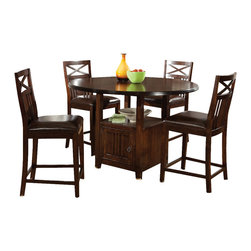 Standard Furniture - Standard Furniture Sonoma 5-Piece Counter Dining Room Set in Oak - Simplistic dining in a rich finish that is casual and versatile. Quality veneers over wood products and select solids used throughout. Group may contain some plastic parts. Oak color finish. The casual look and feel of Sonoma will fit in easily with other styles in your home.