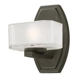 Z-Lite - Z-Lite 3009-1V Cabro 1 Light Bathroom Sconce - This single light vanity lamp has uniquely cubed, frosted white inside and clear outside glass shades along with a bronze finish to refine this contemporary look. Specifications: