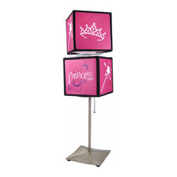 Hot Pink PRINCESS Spinning Cube Lamp - This incredibly cute `Princess` double square spinning table lamp is perfect for use in bedrooms and dorms. The hot pink lamp features designs of frog princes, crowns and magic wands in 6 inch diameter cubes, and stands on a 12 inch high metal base. The lamp makes a great gift for your little Princess.