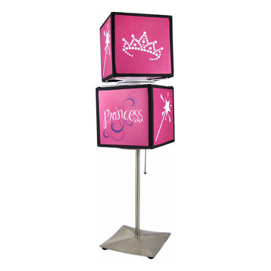 Hot Pink Princess Spinning Cube Lamp - This incredibly cute 'Princess' double square spinning table lamp is perfect for use in bedrooms and dorms. The hot pink lamp features designs of frog princes, crowns and magic wands in 6 inch diameter cubes, and stands on a 12 inch high metal base. The lamp makes a great gift for your little Princess.