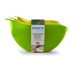 Mixing Bowls | Set of 3 - Preserve mixing bowls are made in the USA from 100% BPA free, recycled #5 plastic. The Preserve Mixing Bowl set includes three nested bowls (2 qt, 3 qt, and 4 qt). Bowls are wide for comfortable mixing with an easy grip handle that aids pouring.  Available in assorted colors.