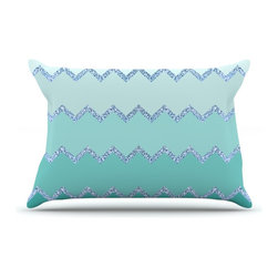 """Kess InHouse - Monika Strigel """"Avalon Mint Ombre"""" Aqua Green Pillow Case, King (36"""" x 20"""") - This pillowcase, is just as bunny soft as the Kess InHouse duvet. It's made of microfiber velvety fleece. This machine washable fleece pillow case is the perfect accent to any duvet. Be your Bed's Curator."""
