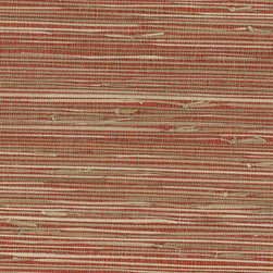 Kenneth James - Yan Yan Red and Beige Grasscloth Wallpaper - A sophisticated red and beige grasscloth wallpaper, weaving natural sea grasses for an eco-chic texture. Note: This product only ships in a double roll. The total price includes two bolts of natural grasscloth sheets of wallpaper. 36 Inches x 24 Ft. Unpasted, Peelable, Random Match. Made with all natural materials . Pattern #63-65661
