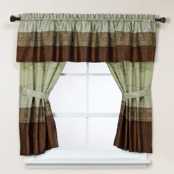 Kas - KAS Romana Bathroom Window Curtain Pair in Green - Give your bathroom's decor an inviting ambiance with this stylish window curtain. It conveys a chic aesthetic with a horizontally pieced layout, and is enhanced by the embroidery that adds dimension and surface interest.