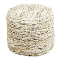 Used Chloe Ottoman Pouf - This fun little ottoman is great for extra seating in a bedroom or as a foot rest near the couch in the living room. It's made with strips of cotton, jute, and leather for a unique look. Great for adults or kids! You'll be getting it right off the showroom floor so it's practically brand new!