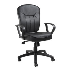 "Boss - Black Leather Task Chair With Loop Arms - Mid-back task chair with extra large seat and back cushions. Beautifully upholstered in black LeatherPlus. LeatherPlus is leather that is polyurethance infused for added softness and durability. Pneumatic gas lift seat height adjustment. Adjustable tilt tension control. Large 27"" nylon base for greater stability. Upright locking position. Hooded double wheel casters. With loop arms. Fabric Type: LeatherPlus; Cushion Color: Black; Frame Color: Black; Weight Capacity: 250 lbs; Seat Size: 20"" W x 20"" D; Seat Height: 19.5""-23"" H; Arm Height: 26""-29.5"" H; Overall Size: 26.5"" W x 27"" D x 40.5-44"" H"