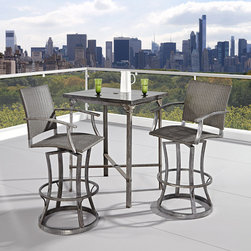 None - Urban Outdoor High Dining Set - Strength meets beauty in this urban industrial design. The Urban Outdoor collection by Home Styles displays unrefined beauty in the midst of aged metal rust sealed with a clear coat.