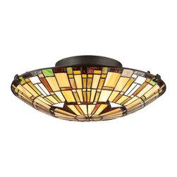 Quoizel Lighting - Quoizel TF1408SVB Tiffany Vintage Bronze Flush Mount - 2, 75W A19 Medium