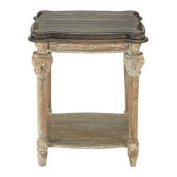 Teak End Table - The natural beauty of teak takes on a new spirit in our Teak End Table. Carved posts are accented by an antiqued wash that highlights the individual characteristics of each post design. The smooth top is finished in a darker shade for contrast. A low shelf along the bottom of the table adds extra space for books and magazines, while its scale makes it ideal for after-dinner lounging. Our three season Teak Console will bring style and natural beauty to any outdoor d�cor.