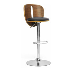 "Baxton Studio - Baxton Studio Athens Black Modern Bar Stool - The Athens Modern Bar Stool will have you twisting and shouting in seconds flat.  This contemporary bar chair swivels 360 degrees and features a gas lift piston for adjustable height and comes with a walnut effect plywood seat accompanied by foam-padded black faux leather.  A protective ring on the bottom of the chrome-plated steel base helps prevent scratched flooring. The Athens Stool is made in China and requires assembly.  To clean, wipe with a damp cloth. Product dimension:33""Wx15.5""Dx19""H, seat dimension:15.5""Wx16""Dx23.75""H-32.5""H"