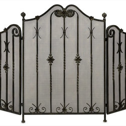 "Imax Worldwide Home - Iron Fireplace Screen - Traditional iron fireplace screen with intricate metalwork detail. Tri-fold.; Country of Origin: China; Weight: 16.42 lbs; Dimensions: 25""h x 36""w x 2.5""d"