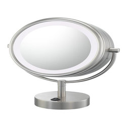 Aptations - Kimball & Young 72575 Neomodern Mirror - Kimball & Young 72575 Double Sided Neomodern Led Lighted Mirror 5X/1X Br. Nickel
