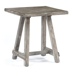 "Famous Brand Products - 23.75"" Height x 22"" Width x 22"" Depth Rustic - The Rustic Accents table is designed with the outdoors in mind. Its driftwood finish paired and unique braced design make it the perfect piece for any room. Function, simplicity, and style all in one!"