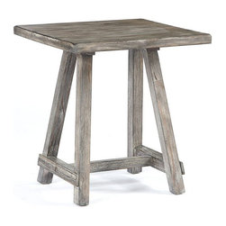 "Signature Design by Ashley - 23.75"" Height x 22"" Width x 22"" Depth Rustic - The Rustic Accents table is designed with the outdoors in mind. Its driftwood finish paired and unique braced design make it the perfect piece for any room. Function, simplicity, and style all in one!"
