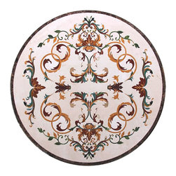 Stoneworks - Intricate Floor Medallion, Waterjet Cut, All Natural Marble - Made of real natural marble.  Precision cut with a state of the art waterjet machine.