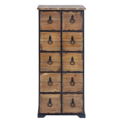Benzara - Antiqued Dresser with Natural Wooden Shade - Beautify your room decor with this wonderfully designed dresser that comes with features that offer utility as well as aesthetic appeal. The highly useful dresser comes with stable legs that bear the dresser with optimal balance. The wooden portion is finished smoothly and the natural wooden shade with a faded hue gives the dresser an antique look. The dresser has neatly crafted rows of utility drawers that are spacious and capable of holding your home essentials comfortably. Each drawer is provided with perfectly finished and fixed metal drawer fronts that are convenient to use and pull open the drawer whenever needed. The top surface is also designed to hold your dressing items and cosmetics while you can place a dressing mirror to complete your dressing table set. The dresser is made of a combination of high quality metal and wood that bestows this dresser with endurance and long lasting performance..