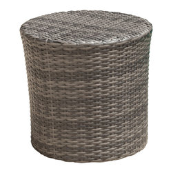 Great Deal Furniture - Overton Outdoor Grey Wicker Barrel Side Table, Grey - The Overton outdoor wicker side table is stylish and convenient for your outdoor needs. With its contemporary shape, you can place it near your seating area to place snacks and beverages, or even use it as a stand for your garden. Made of environment-friendly synthetic wicker- you will find many uses for this table.