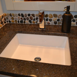 Pebble Mosaic Backsplash - Granite and Tile by Architectural Justice