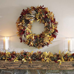 Fall Leaf Garland - Garlands and wreaths are the perfect combo for a cozy and warm fireplace. Sit by the fire and enjoy these fall pretties up close and personal.