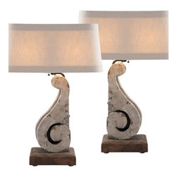 Aidan Gray - Aidan Gray Corbel Lamp L228 SET - Inspired from antique corbels, this beautiful lamp set features a Cracked Grey finish that is sure to stand out under its understated Textured White shade.