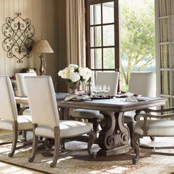 Lexington Home Brands - La Tourelle Dining Room Set - This dining set includes a table, two arm chairs, and four side chairs.