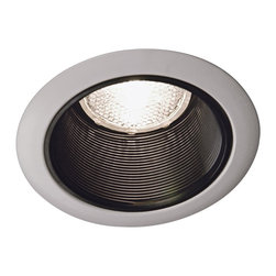 "Juno - Juno 4"" Black Baffle White Trim Recessed Light - This small recessed light from Juno Lighting uses the popular PAR-20 or R-20 bulbs for the most efficient and best output. Use this light in lower ceiling height areas such as soffits casework and niches. To be used with Juno Lighting IC New Construction Non-IC New Construction and Non-IC Remodeling recessed light housing. Takes one 50 watt PAR20 or R20 bulb (not included). 3 1/2"" aperture.  White finish trim.  Black baffle.  Line voltage.  Rated for use with one 50 watt PAR-20 or R-20 bulb (not included).   3 1/2"" aperture."