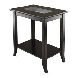 Winsome Wood - Rectangular End Table in Espresso Finish - Includes glass inset and shelf. Made from solid and composite wood and glass. Assembly required. Glass: 14.37 in. W x 6.73 in. D. Shelf: 20.79 in. W x 13.15 in. D. Overall: 23.94 in. W x 16.3 in. D x 25 in. H