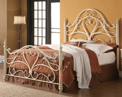 Coaster - Traditional Queen Size Headboard & Footboard - White - This ornate style metal bed features heart shaped center design and intricate curves. Finished in egg shell white, this bed will introduce a simple elegance appearance to any bedroom decor.