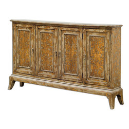 Uttermost - Maguire 4-Door Cabinet - Made from plantation-grown mango wood with honey-stained mindi veneer, hand painted in warm oatmeal with heavy distressing. Two adjustable shelves per side.