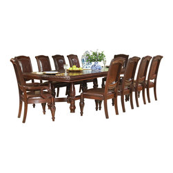Steve Silver Furniture - Steve Silver Antoinette 11-Piece Dining Room Set with Leaf - With dramatic hand carved legs and generous proportions, the Antoinette Extended Leg Dining Table With dramatic hand carved legs and generous proportions, the Antoinette Extended Leg Dining Table with 24 Inch Leaf is beautifully crafted from mahogany, cherry, and veneers with a hand-planed surface and hand carved edges. The Steve Silver AY200T - Antoinette Extended Leg Dining Table with 24 Inch Leaf has a distressed finish, giving it the look and feel of an antique. The optional rich hand carved leather chairs add sophistication and the buffet, hutch, and curio give it that extra touch of class.