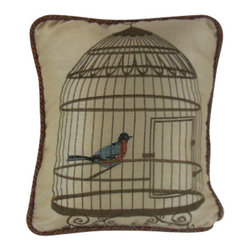 "www.pillowtalkdirect.com - 12"" X 15"" Embroidered Cage with Songbird Pillow - 12"" x 15"" Embroidered cage with song bird on rayon, silk back. Multi-color cord trim, Poly fill."