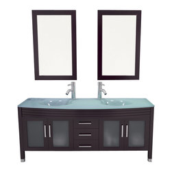 "JWH Imports - 63"" Grand Regent Large Double Sink Modern Bathroom Vanity Cabinet with Glass Top - Sleek and modern in design, this double-sink vanity is as impressive to view as it is incredibly functional. The countertop houses two recessed sinks, along with two lower cabinets with frosted-glass doors and a center panel of three sliding doors. Crafted of sturdy natural oak, this vanity comingles sensible storage with impressive aesthetic sensibility"